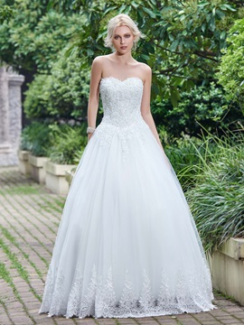 Exceptional Sweetheart Beaded Appliques Lace-Up Wedding Dress & fashion Wedding Dresses