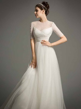 Elegant Jewel Neck Pearls Sweep Train A Line Wedding Dress & informal Wedding Dresses