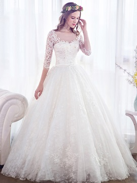 Beautiful Scoop Neck Appliques Lace Ball Gown Wedding Dress With Sleeves & unique Wedding Dresses