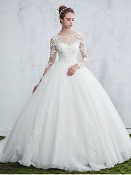 Appliques Long Sleeve Ball Gown Wedding Dress & petite Wedding Dresses