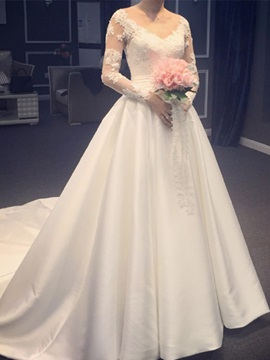 V Neck Long Sleeves Appliques Chapel Train Wedding Dress