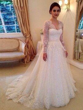 Fantastic V Neck Long Sleeves Appliques Court Train Wedding Dress & Wedding Dresses under 300
