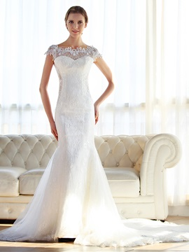 Captivating Off-The-Shoulder Cap Sleeves Lace Mermaid Wedding Dress & fashion Wedding Dresses