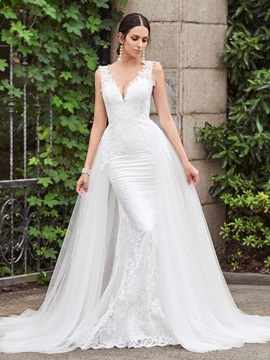 Watteau Train Appliques Mermaid Wedding Dress