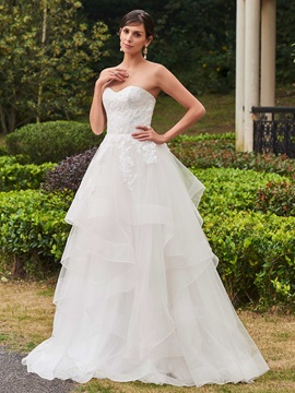 High Quality Appliques Sweetheart A Line Wedding Dress & fairytale Wedding Dresses