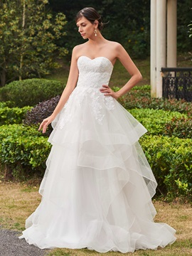High Quality Appliques Sweetheart A Line Wedding Dress & Wedding Dresses for sale