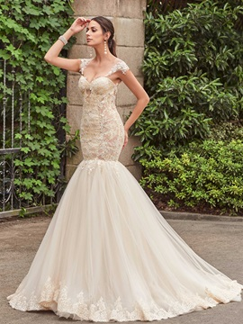 Charming Appliques Illusion Back Mermaid Wedding Dress & Wedding Dresses 2012