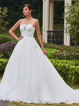 Appliques Strapless Ball Gown Court Train Wedding Dress & Wedding Dresses online