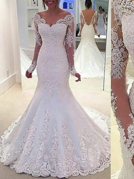 Long Sleeves Appliques Mermaid Wedding Dress