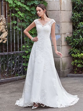 Classic V Neck A Line Lace Wedding Dress & petite Wedding Dresses