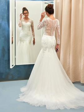 Scoop Neck Button Long Sleeves Beaded Appliques Mermaid Wedding Dress & Wedding Dresses online