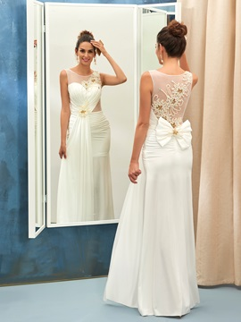 Charming Jewel Neck Beaded Sheath Wedding Dress & colored Wedding Dresses