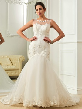 Scoop Appliques Court Train Mermaid Wedding Dres & Wedding Dresses from china
