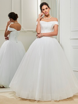 Off the Shoulder Ball Gown Beading Wedding Dress & Wedding Dresses from china