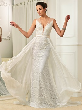 Fresh V Neck Lace Mermaid Watteau Train Wedding Dress & amazing Wedding Dresses