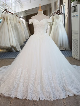 Appliques Beading Off the Shoulder Lace-Up Ball Gown Wedding Dress & Wedding Dresses under 500