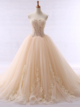 Strapless Appliques Bodice Ball Gown Wedding Dress