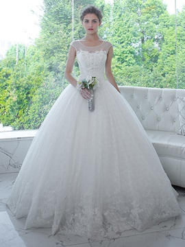 Illusion Straps Appliques Ball Gown Beading Wedding Dress & Wedding Dresses 2012