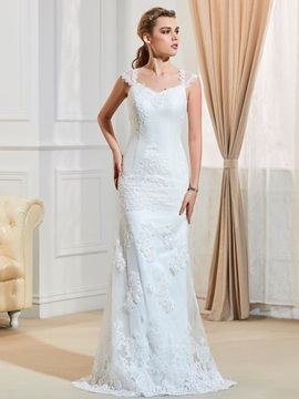 V-Neck Straps Appliques Sheath Cap Sleeves Wedding Dress & Wedding Dresses from china