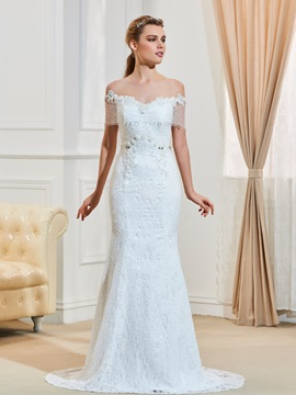 Illusion Neckline Beaded Backless Mermaid Lace Wedding Dress & modern Wedding Dresses