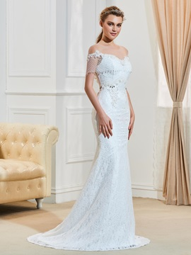Illusion Neckline Beaded Backless Mermaid Lace Wedding Dress & Wedding Dresses on sale