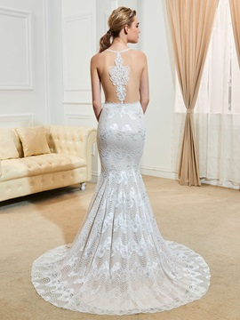 Sexy Hollow Straps Split-Front Mermaid Lace Wedding Dress & Wedding Dresses on sale
