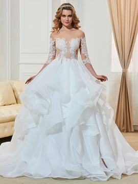 Amazing Appliques Ruffles Ball Gown Wedding Dress & Wedding Dresses on sale