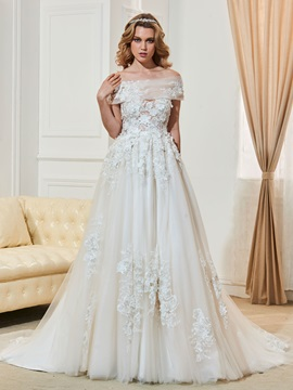 Off the Shoulder Button Flowers Appliques Wedding Dress & Wedding Dresses online