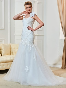 Straps Appliques Lace Mermaid Wedding Dress & discount Wedding Dresses