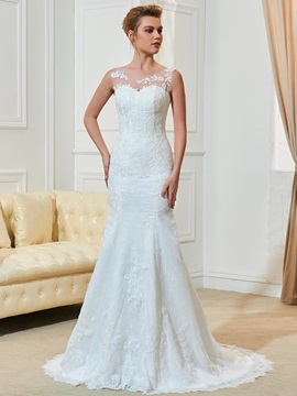 Illusion Neck Straps Appliques Mermaid Wedding Dress