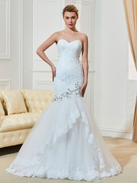 Strapless Beading Appliques Tiered Mermaid Wedding Dress & modern Wedding Dresses