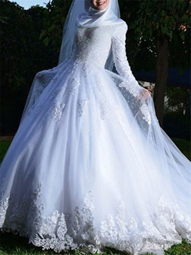 Vintage Long Sleeves Appliques Muslim Wedding Dress & Wedding Dresses 2012