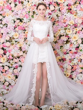 Long Sleeve Column Lace Wedding Dress with Detachable Train