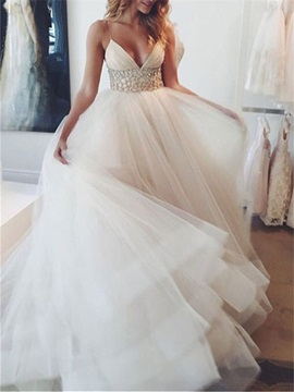 Dramatic Spaghetti Straps Beaded Waist Tulle Wedding Dress & simple Wedding Dresses