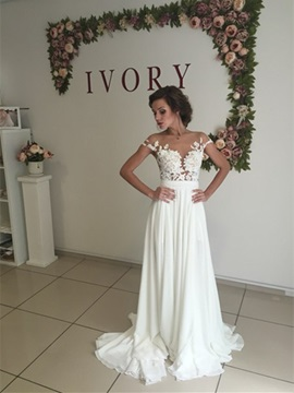 Illusion Neck Appliques Split-Front Chiffon Wedding Dress