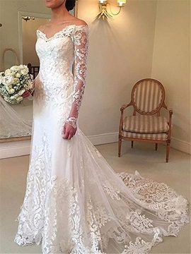 Mermaid Lace Wedding Dress with Long Sleeve & casual Wedding Dresses