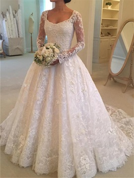 Button Lace Wedding Dress with Long Sleeves