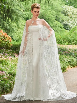 Ideal Strapless Appliques Lace Wedding Dress with Shawl