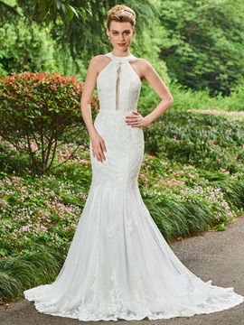 Halter Appliques Lace Mermaid Wedding Dress & inexpensive Wedding Dresses