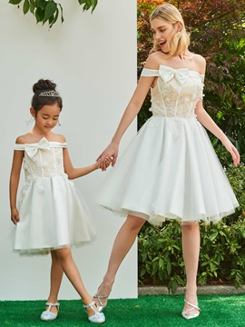 Parent-Child Off the Shoulder Appliques Short Wedding Dress