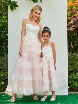 Parent-Child Strapless A-Line Flowers Wedding Dress