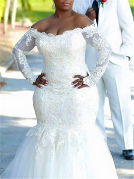 Appliques Plus Size Wedding Dress with Long Sleeve & Wedding Dresses on sale
