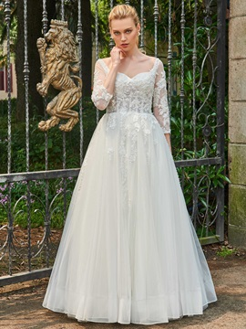Vintage 3/4 Length Sleeves Appliques Beaded Wedding Dress & quality Wedding Dresses