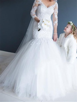Appliques 3/4 Length Sleeves Mermaid Wedding Dress