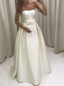 Simple Strapless Bowknot A-Line Wedding Dress