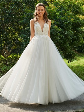 Fancy V-Neck A-Line Flowers Wedding Dress
