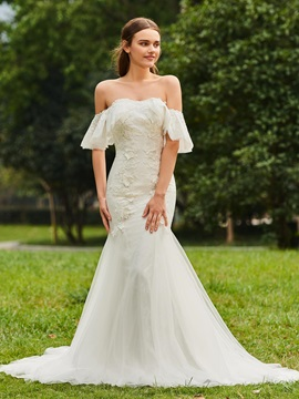 Mermaid Appliques Off the Shoulder Wedding Dress