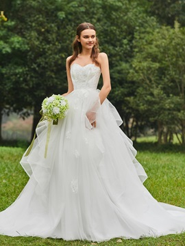 Strapless Appliques Tiered Ball Gown Wedding Dress & Wedding Dresses under 100