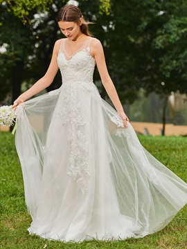 V-Neck Beaded Appliques Wedding Dress