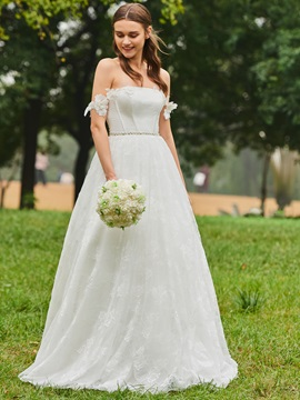 Pearls Belt Off the Shoulder Lace Wedding Dress